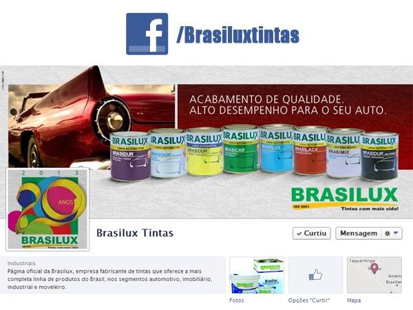 No detalhe, o endereço da Brasilux Tintas na rede social