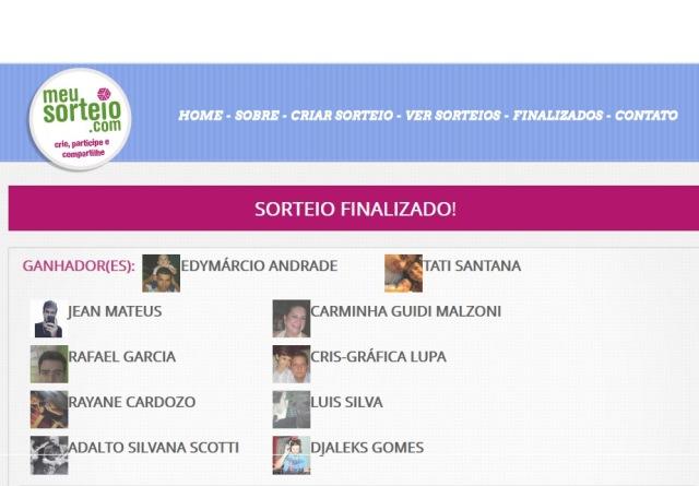 Painel do site meusorteio.com com os vencedores